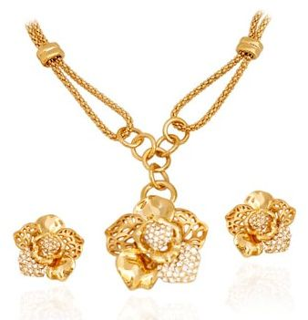 Golden Essentials 22k Gold Plated Beautiful Modern Flower Design Set