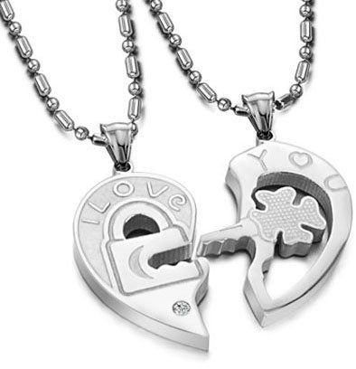 Buy valentine couples love you lock and key pendant necklaces 1248 aed aloadofball Images