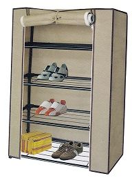 Shoe Organizer Cabinet With Racks Beige