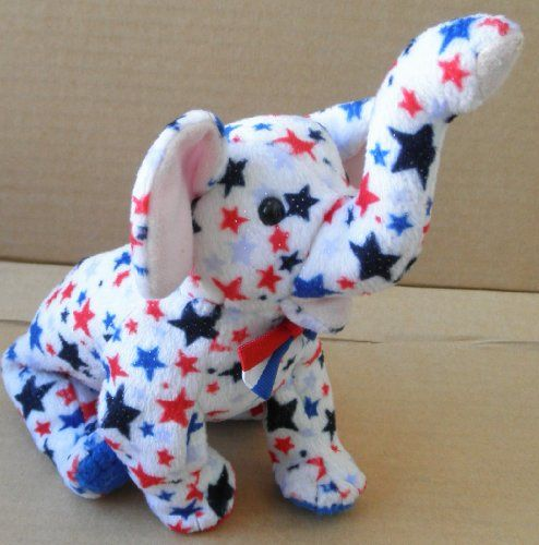 db95fb28a08 TY Beanie Baby Righty the Patriotic Elephant Stuffed Animal Plush Toy - 10  inches long - 2004 Edition
