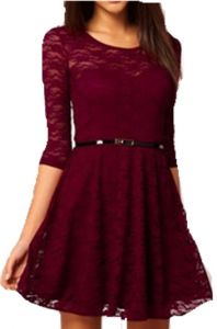 f5de7234fa Women Lady Spoon Neck 3 4 Half Sleeve Lace Skater Dress Mini Dress Belt  Include Vintage Dresses Gg0157 Wine Red Size M