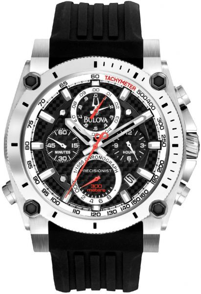 e96900c16 Bulova 98B172 Men's Precisionist Chronograph Black Resin Strap Diver ...