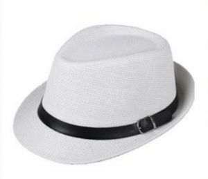 56b7733fc33 Women Men Trendy Unisex Fedora Trilby Gangster Cap Summer Beach Sun Straw  Panama Hat Sunhat Belt GH3115 White