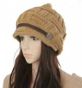92c68685790 Headwear Women Warm Rageared Baggy Winter Beanie Chunky Knit Crochet Ski Hat  Cap GH3132 Khaki