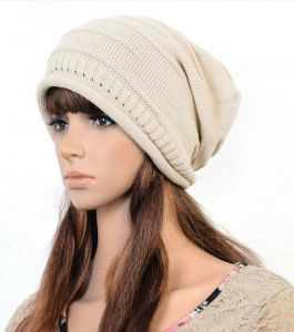 FOLDING CAP WINTER HAT FASHIONABLE MEN AND WOMEN KNITTING WOOL CAP HT-0008  beige 3864454f0d3