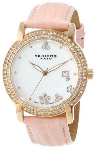 424146c82 ساعه ماركة Akribos XXIV Women's AK555PK Swiss Quartz Crystal Mother ...