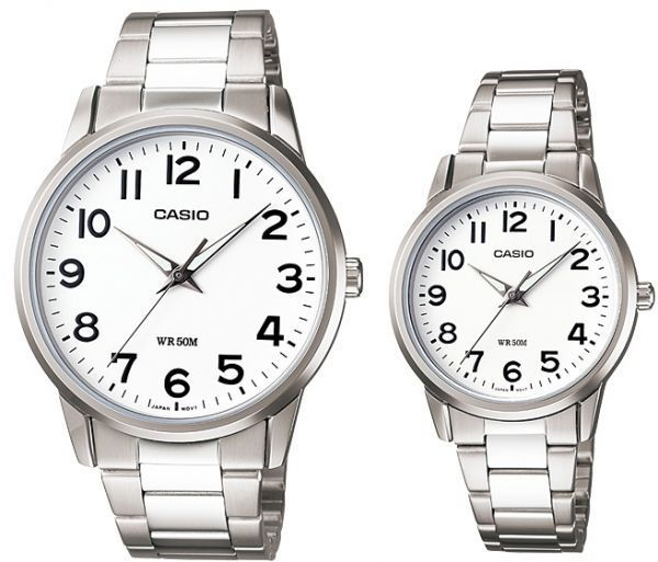 408237ba7251 Casio His   Her White Dial Stainless Steel Band Couple Watch  MTP LTP-1303D-7B