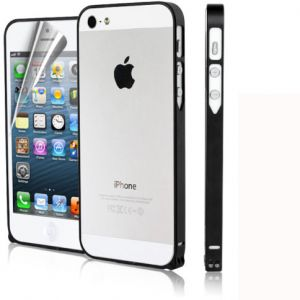 Super Thin Metal Bumper Frame w/ Home button Sticker Screen Protector for Apple iPhone 5 5S - BLACK
