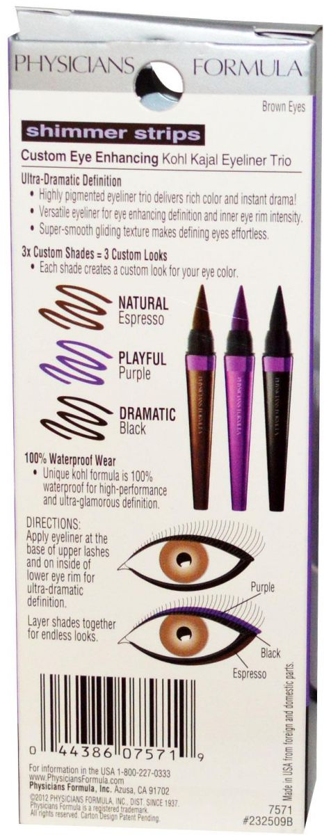 مجموعة أقلام كحل ثابتة ضد الماء عيون بنية Physician's Formula Custom Eye Enhancing Kohl Kajal Eyeliner 2.7 g Trio, Brown Eyes