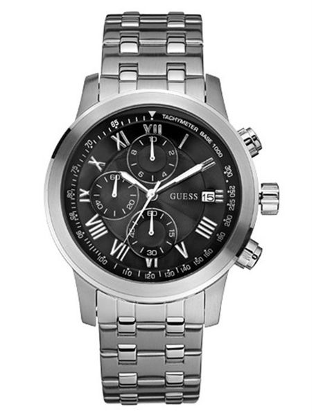 e6d59b44db1a9 Guess For Men Black Dial Stainless Steel Band Chronograph Watch - W13550G1