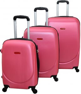 460af3f1bdbd HighFlyer CURVE Series 3 Pc Trolley Hard Luggage Bag Set - Pink