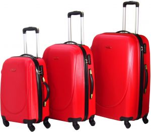 bd93dce0a7ca HighFlyer CURVE Series 3 Pc Trolley Hard Luggage Bag Set - Red
