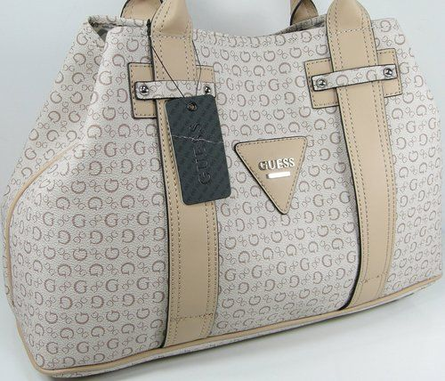a3a2d3f7f500 Guess G Logo Large Purse Satchel Hand Bag Tote Khaki Tan Beige ...