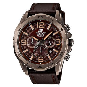 8b741e8508d Casio Edifice For Men Brown Dial Leather Band Chronograph Watch -  EFR-538L-5A
