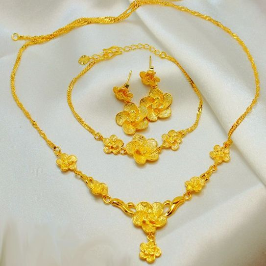 24k Gold Plated Flower Design Jewelry Set 3 pieces  fdfb569bf9
