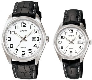 449a65b4f38f3 Casio His   Hers White Dial Leather Band Couple Watch - MTP LTP-1302L-7B