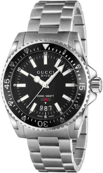 6d884e68fcf Gucci Dive Men s Black Dial Stainless Steel Band Watch - YA136301 ...