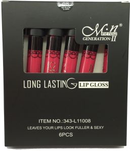M.n menow Wholesale Cosmetics 24hours Long Lasting Waterproof Lip Gloss Pink color 8,set of 6pcs