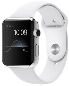 4cd1b08da Apple Watch Series 1 - 42mm Stainless Steel Case with White Sport Band,  MJ3V2