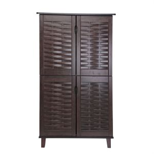 Weaved Design Four Door Shoe Cabinet Dark Brown 132 X 74 36 Cm