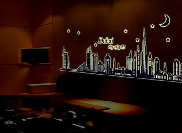 dubai city night glow home decor wall sticker | souq - uae