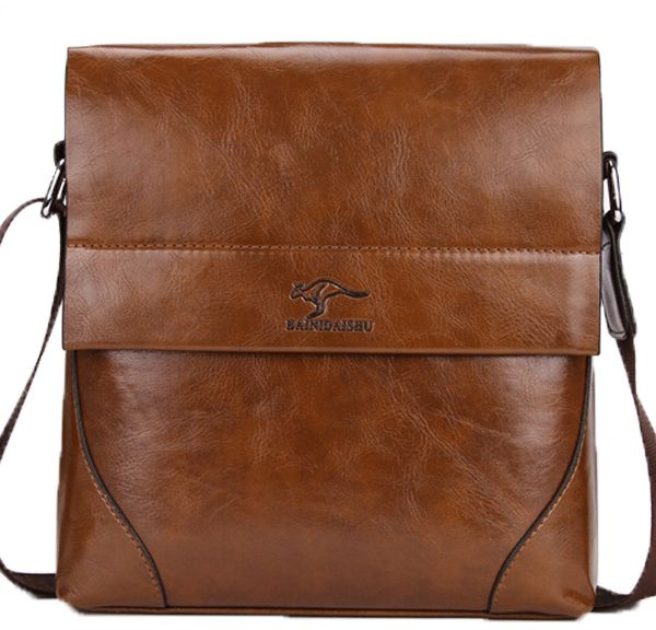 Kangaroo Kingdom Luxury Travel Messenger Bag For Men Leather Brown