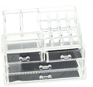 7699a360a [H14320] Acrylic Jewelry and Cosmetic Storage Display Boxes Organizer Two  Pieces Set