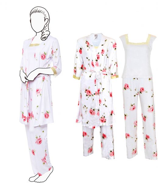 067e04626f87 3 Pieces Comfortable Wrap Around Nightgown Set Floral Printed