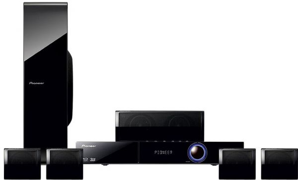 Pioneer 5 1 Blu-Ray 3D Home Cinema System with Virtual 3D Sound / Built-in  WLAN / Network Streaming / 4 Compact Speakers & Karaoke (Model: BCS-323)