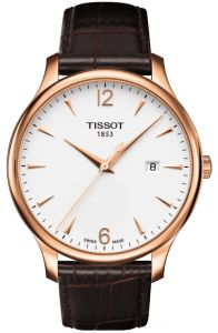 f9c51a860 Tissot Swiss Made Men's Tradition Silver Dial Leather Band Watch -  T0636103603700