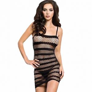 8968876f6c Women Lingerie Fishnet Mini Dress Underwear Babydoll Sheer Diagonal Stripes  Sleepwear