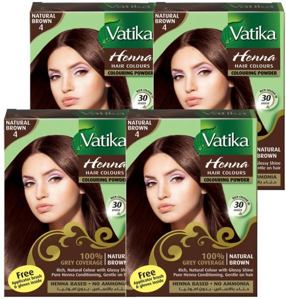 Vatika Henna Hair Colour Natural Brown 10gm Value Pack Souq Uae