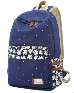 cf7085a8652e Women wave point Navy Blue canvas backpack schoolbag Waterproof travel bag  XDBB3