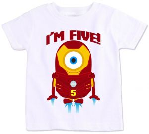 Iron Man Minion With IM Five Birthday T Shirt
