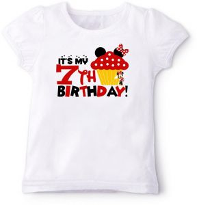 Minnie Mouse Cupcake With Its My 7Th Birthday T Shirt