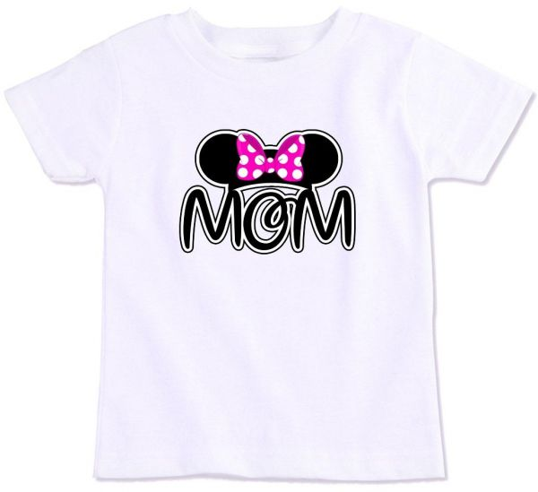 Minnie Mouse Ear Silhouette With Pink Bow And Mom Family Matching T