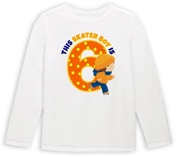 This Skater Boy Is 6 Birthday Long Sleeved T Shirt