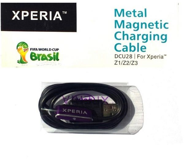 Sony Xperia Z3/Z2/Z1 LED Aluminium Magnetic Charging Cable DCU28 - Black /Purple