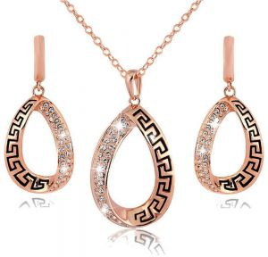 Jewelry Sets Rose Gold Austrian Crystal Fashion Necklace Earrings