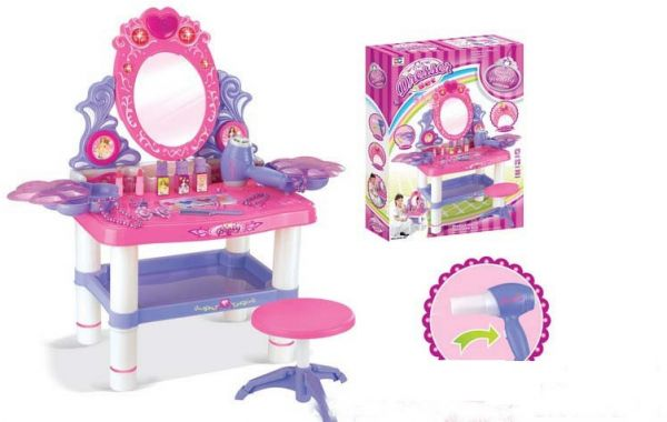 Merveilleux Beauty Dresser Vanity Makeup Play Set Girls Dressing Table With Mirror And  Music