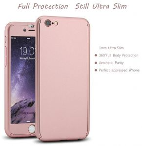 Full Body Protection Slim Case with Tempered Glass Screen Protector for Apple iPhone 6/ 6S Rose Gold
