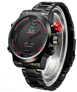 Weide WH2309 LED Sports Watch with Waterproof Design Alarm and Stainless  Steel band - Black Red d2b1c800708