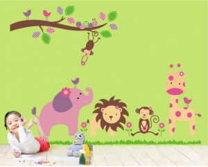 Home & Garden 2015 Jungle Animal Kids Baby Nursery Child Home Decor Mural Wall Sticker Decal Home-decoration-accessories Strong Resistance To Heat And Hard Wearing