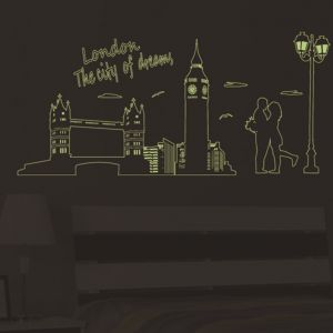 London In The Light Of Fluorescent Wall Stickers City Print Living Room Home Decor