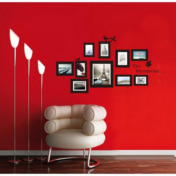 Multi Photo Frame Wallpaper Wall Mural Decals Photoframe Bird Stickers On A  Wall Paper Picture