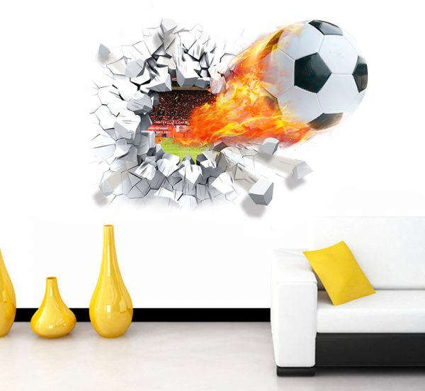 3d football wall stickers background decor removable stickers