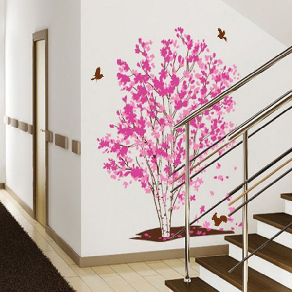 Souq | One Tree Dream Pink Flowers Birds Wall Stickers Home ...