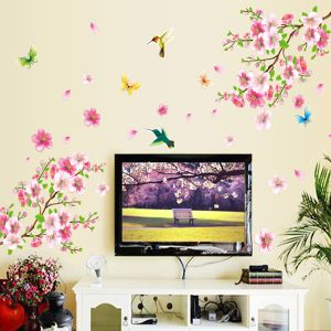 Souq | Peach Flower Scenery Of The Spring Wall Sticker For Living Room  Bedroom Home Decoration Wallpaper | UAE