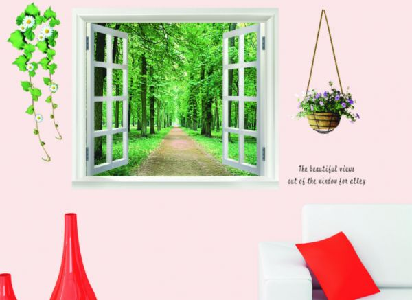 false window scenery 3d wall sticker home decor green forest wall