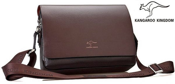 Australian Kangaroo Kingdom Laptop Travel Business Bag For Men Leather Brown